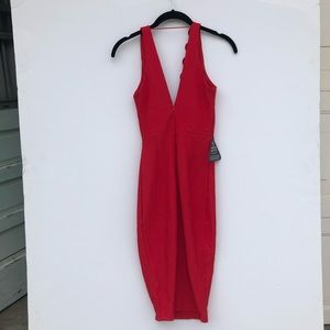 Nasty Gal Dresses - NWT Nasty Gal Red Plunging Bodycon Dress